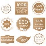 Satz von Bioproduktaufkleber 100% im Erdton Lizenzfreie Stockbilder
