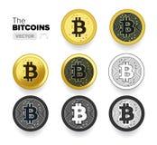 Satz von Bitcoin prägt in Form von Gold, einfach und Linie Ikonen im Vektor Lizenzfreie Stockfotografie