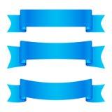 Satz von 3 blauen leeren Bändern und von Fahnen Lizenzfreie Stockfotos