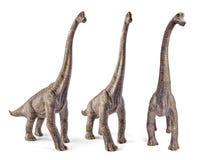 Satz von Brachiosaurus, Dinosaurier spielen lokalisiert auf weißem Hintergrund mit Beschneidungspfad Stockbild