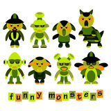 Satz von buntem, Karikatur, lustige Monster, Halloween-Feier Stockfotografie