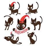 Satz von Cat Cartoon With Different Actions Lizenzfreie Stockfotografie