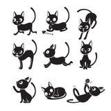 Satz von Cat Cartoon With Different Actions, einfarbig Stockbilder
