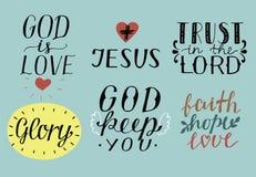 Satz von 6 christlichen Zitaten der Handbeschriftung mit Symbole Gott ist Liebe jesus Vertrauen im Lord ruhm Glaube, Hoffnung, Li stock abbildung