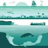 Satz von Coral Reef und von tiefer unterseeischer Landschaft Stockbilder