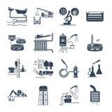 Satz von den schwarzen plombierenden Ikonen und von Kanalisationsreparatur, Service lizenzfreie abbildung