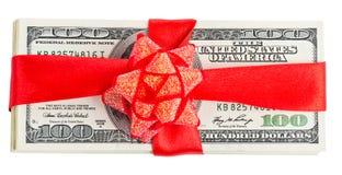 Satz von Dollar und von rotem Band Lizenzfreie Stockfotos