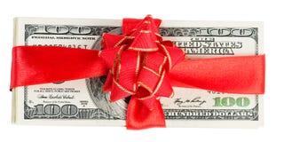 Satz von Dollar und von rotem Band Lizenzfreies Stockbild