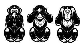 Satz von drei Affen - hören Sie kein, sehen kein, sagen nicht stock abbildung