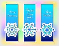 Satz von drei blauen Weihnachtsfahnen mit Schneeflocke Stockfotos