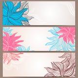 Satz von drei Blumenfahnen Stockbilder