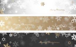 Satz von drei bunten Weihnachtshintergrundfahnen Lizenzfreie Stockbilder
