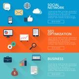 Satz von drei Fahnen in einer flachen Art mit Ikonen auf einem Thema SEO, Geschäft, Soziales Netz stock abbildung