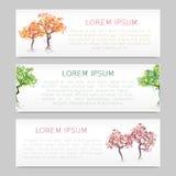 Satz von drei Fahnen mit abstrakten Bäumen Lizenzfreie Stockfotos