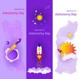 Satz von drei flachen Fahnen auf dem Thema des Astronomie-Tages Stockfotos