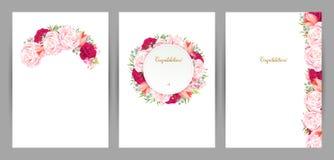 Satz von drei Glückwunschkarten mit Blumenzusammensetzung Blühende rosa Rosen und Tulpen bildeten Niederlassung, Rahmen und Stockbilder
