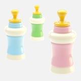 Satz von drei glatten Babyflaschen lokalisiert Stockbilder