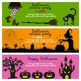 Satz von drei Halloween-Fahnen stock abbildung