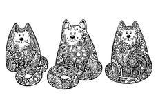 Satz von drei Hand gezeichneten Gekritzelgrafischen Schwarzweiss-Katzen Stockfoto
