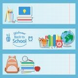 Satz von drei horizontalen Fahnen mit Schulbedarf Stockbild