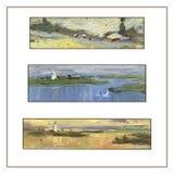 Satz von drei panoramischen Landschaften Landschaft mit Fluss und Wald Stockfotografie