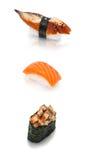 Satz von drei Sushi Stockfoto