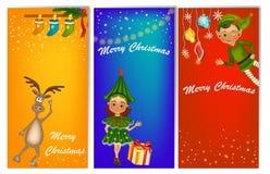 Satz von drei vertikalen Fahnen des neuen Jahres mit netten Kindern im Kostüm vektor abbildung