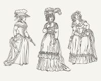 Satz von drei Weinlese-Mode-Freifrauen Stockfoto