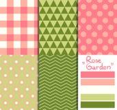 Satz von 5 einfachen nahtlosen geometrischen Mustern 'Rose Lizenzfreie Stockbilder