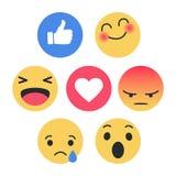 Satz von Emoticon mit flacher Design-Art, Social Media-Reaktionen lizenzfreie abbildung