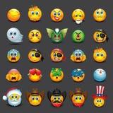 Satz von 25 Emoticons, emoji, smiley - Illustration Stock Abbildung