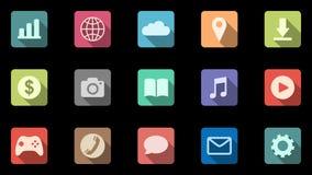 Satz von 15 färbte Ikonen mit schiefen Schatten Bewegliche apps Alpha Channel lizenzfreie abbildung