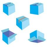 Satz von fünf blauen Kästen vektor abbildung
