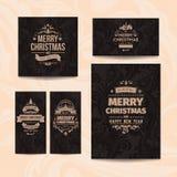 Satz von fünf eleganter brauner Vektor klassischen Weihnachtsgrußkarten Stockbilder