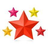 Satz von fünf Sternen auf einem weißen Hintergrund Stockbilder