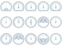 Satz von fünfzehn flach, einfach, Geschwindigkeitsmesserartikonen stock abbildung