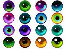 Satz von 16 Fantasie-Augen Stockbild