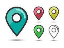 Satz von farbigem Pin Pointers Linear Flat Icons Lizenzfreie Stockbilder
