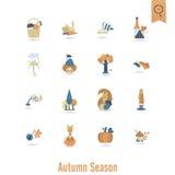 Satz von flachem Autumn Icons Lizenzfreies Stockbild