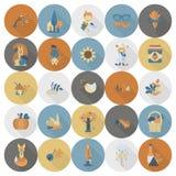 Satz von flachem Autumn Icons Stockfotografie