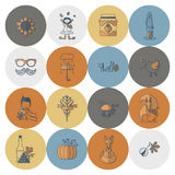 Satz von flachem Autumn Icons Stockfoto