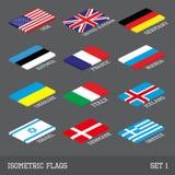 Satz von 12 flachen isometrischen Vektorflaggen Lizenzfreies Stockbild