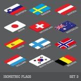 Satz von 12 flachen isometrischen Vektorflaggen Lizenzfreie Stockfotos
