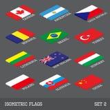 Satz von 12 flachen isometrischen Vektorflaggen Stockfotos