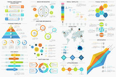 Satz von 9 flaches minimales Infographics lizenzfreie abbildung