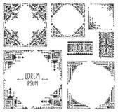 Satz von fünf Grenzen mit Stammes- Kunst boho Hand gezeichnetem geometrischem PA Stockbild