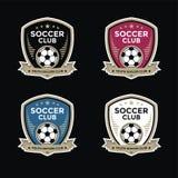 Satz von Fußballfußballkämmen und von Logoemblem entwirft Stockfotografie