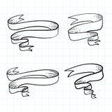 Satz von Gekritzelbandfahnen und von Hand gezeichnetem Gestaltungselement Auch im corel abgehobenen Betrag Stockfotografie