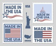 Satz von gemacht in den USA-Briefmarken Stockbilder