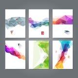 Satz von geometrischen dreieckigen abstrakten modernen Hintergründen, von Vektor u. von Illustration der abstrakten Fliegerschabl Lizenzfreie Stockbilder